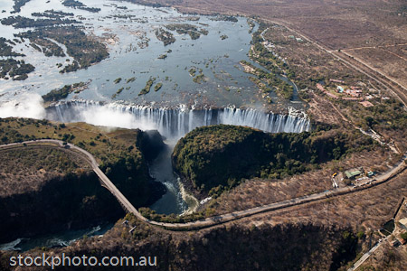 Victoria Falls from a helecopter