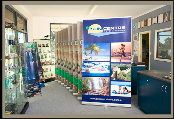 Example of roll up banner stands using stock photographs