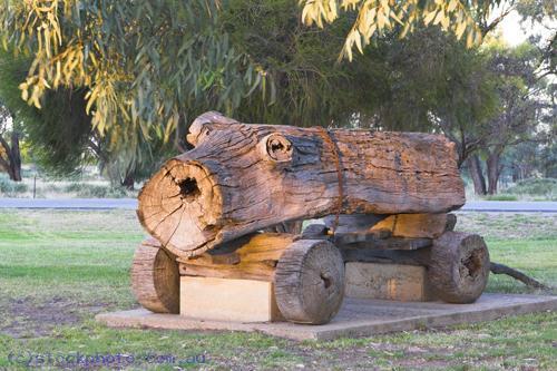 environment;scenery;plants;tree;deciduous;moulamein;wakool;horizontal;flottmann;park;land;county;park;municipal;park;transportation;land;transportation;log;buggy;