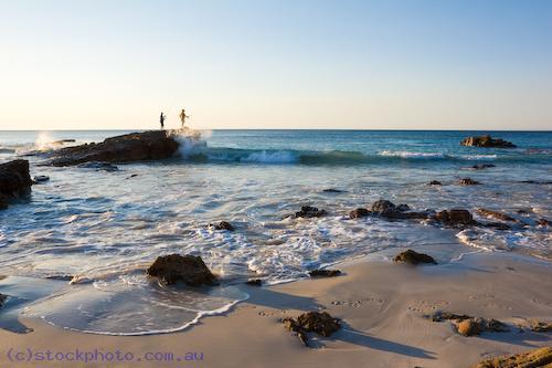 angling;animal;australian;bay;emu;environment;fisherman;fishermen;fishing;horizontal;island;kangaroo;kangaroo;island;land;ocean;people;rocks;scenery;sea;south;sunset;surf;water;waves;