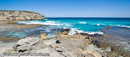 australia;bay;environment;fishermen;fishing;horizontal;island;kangaroo island;ocean;pana;panorama;pennington;rocks;scenery;sea;south;vacation;water