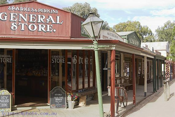 pioneer;settlement;swan;hill;victoria;old;old;fashioned;architecture;building;commercial;building;store;shop;general;store;sparkes;perkins;horizontal;historical;