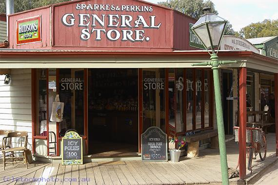 pioneer;settlement;swan;hill;victoria;old;old;fashioned;architecture;building;commercial;building;store;shop;general;store;sparkes;perkins;horizontal;historical;transportation;land;transportation;bicycle;