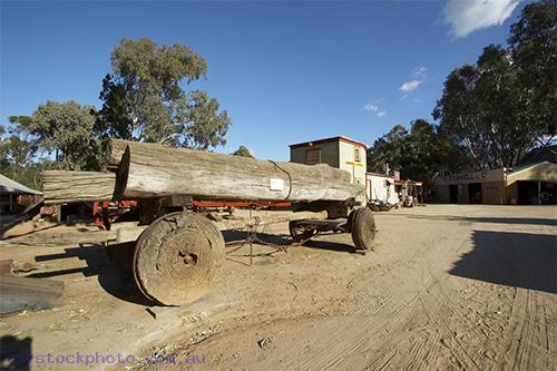 pioneer;settlement;swan;hill;victoria;old;old;fashioned;architecture;building;transportation;land;transportation;bicycle;log;buggy;log;buggy;redgum;horizontal;