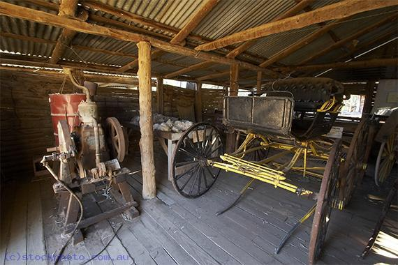 pioneer;settlement;swan;hill;victoria;old;old;fashioned;building;EQUIPMENT-OBJECTS;agricultural;equipment;buggy;horizontal;shed;architecture;agricultural;building;equipment;shed;