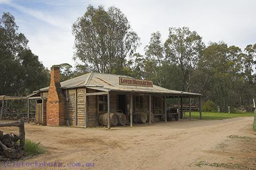 pioneer;settlement;swan;hill;victoria;old;old;fashioned;architecture;building;log;cabin;mallee;pioneers;horizontal;historical;commercial;building;hotel;