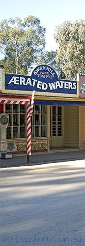 pioneer;settlement;swan;hill;victoria;old;old;fashioned;concepts;architecture;building;shop;commercial;building;store;aerated;water;waters;